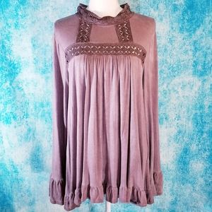 Easel Boho Distressed Purple Crochet Ruffled Tunic